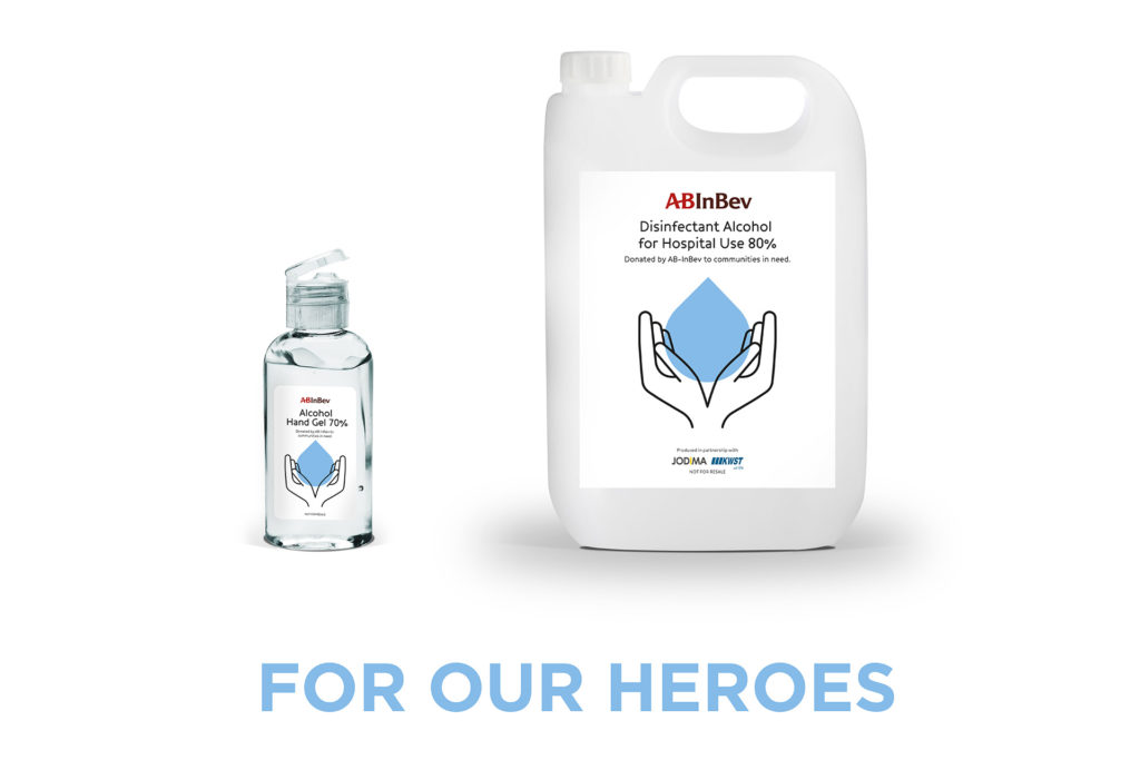 AB InBev disinfectant and hand sanitizer
